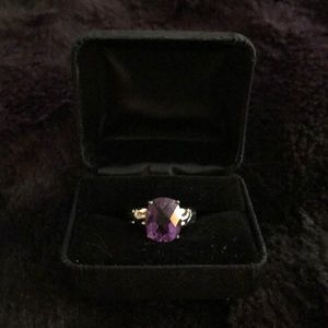 Chunky purple gem stone sterling silver ring.